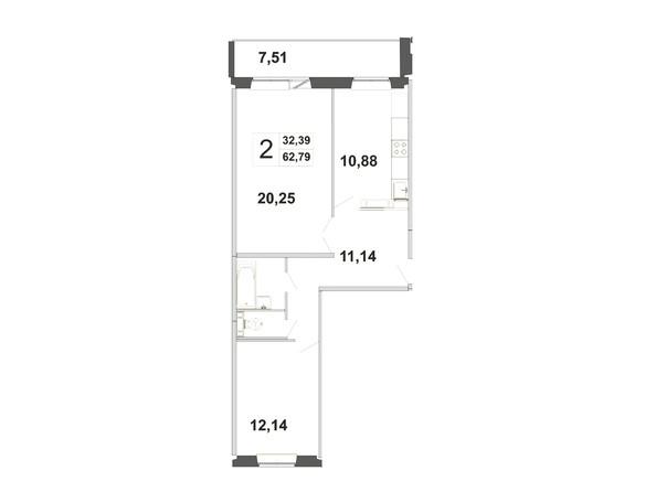 Планировки Жилой комплекс ЗЕЛЁНЫЕ ГОРКИ, КПД-21 - Планировка двухкомнатной квартиры 62,79 кв.м