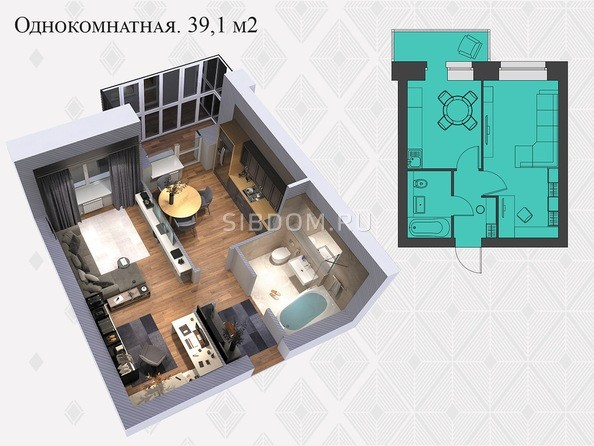 Планировки Жилой комплекс Львовская, 33а - 1-комнатная 39,1 кв.м