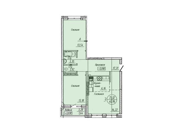 Планировка 3-комнатной квартиры 71,32 кв.м