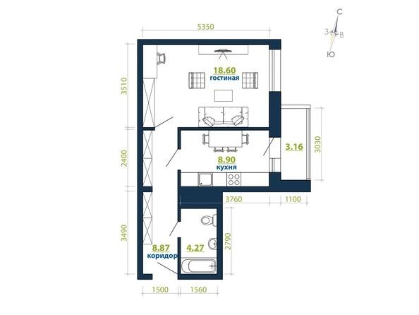 Планировка 1-комн 43,8, 44,74 м²