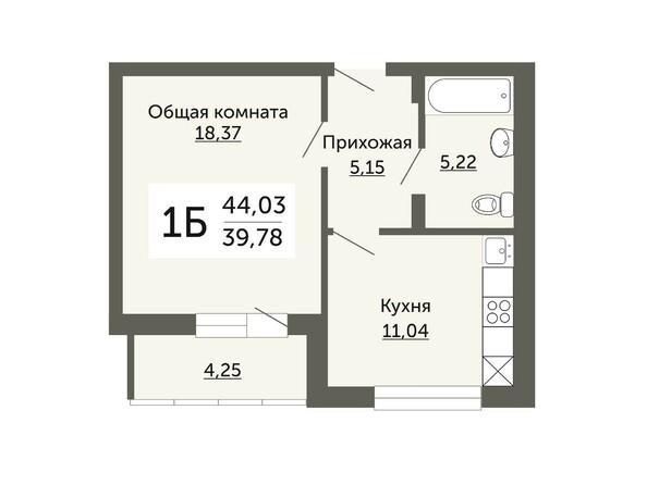 Планировки Жилой комплекс ДОМ НА НЕМИРОВИЧА, б/с 1 - Планировка однокомнатной квартиры 39,78 кв.м