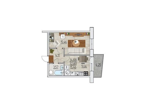 Планировка однокомнатной квартиры 34,08 кв.м