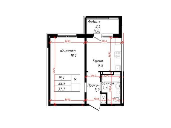 1-комнатная 37,7 кв.м