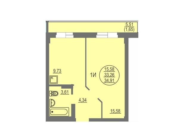 1-комнатная 34.91 кв.м