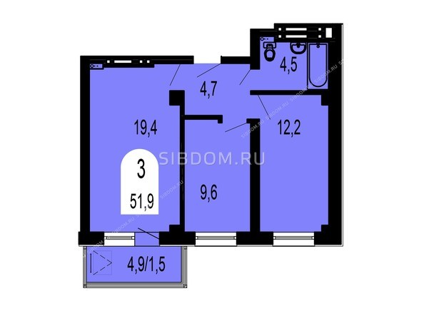 Планировки Жилой комплекс ТИХИЕ ЗОРИ, дом 1 (Красстрой) - Планировка трехкомнатной квартиры 51,9 кв.м