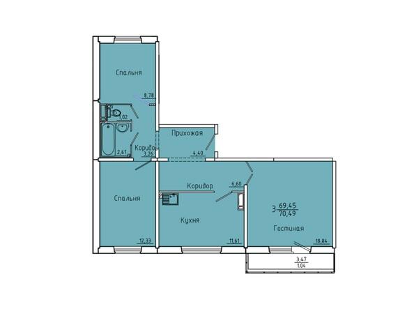 Планировки Иннокентьевский, 3 мкр, дом 6 - Планировка трехкомнатной квартиры 70,49 кв.м