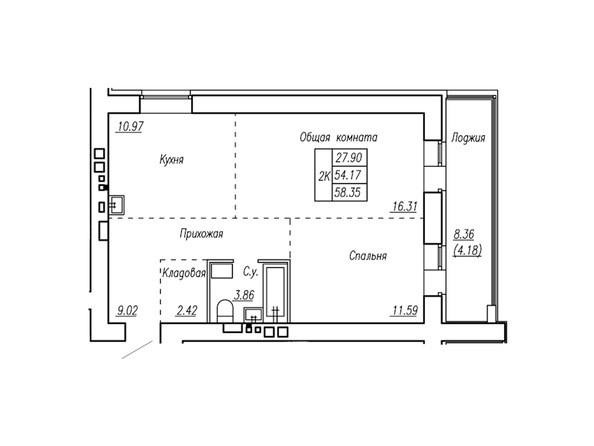 Планировки Жилой комплекс МОТОР, корпус 2 - Планировка трёхкомнатной квартиры 58,35 кв.м