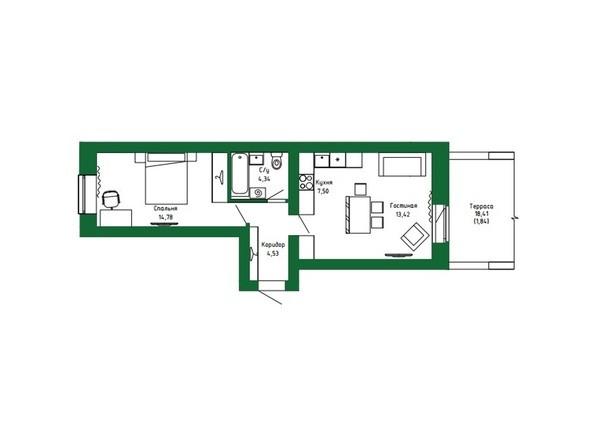 Планировка 2-комн 48,25 м²