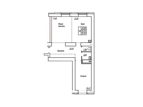 2-комнатная 70.1; 70.79 кв.м