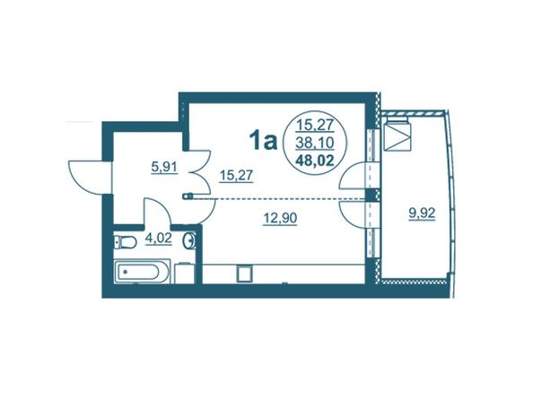 Планировки Жилой комплекс ФЛОТИЛИЯ - 1-комнатная 48,02 кв.м блок А