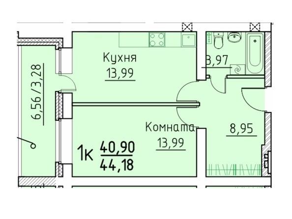 1-комнатная 40.9; 44.18 кв.м