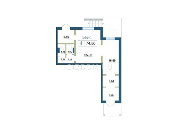 Планировка  74,5 м²