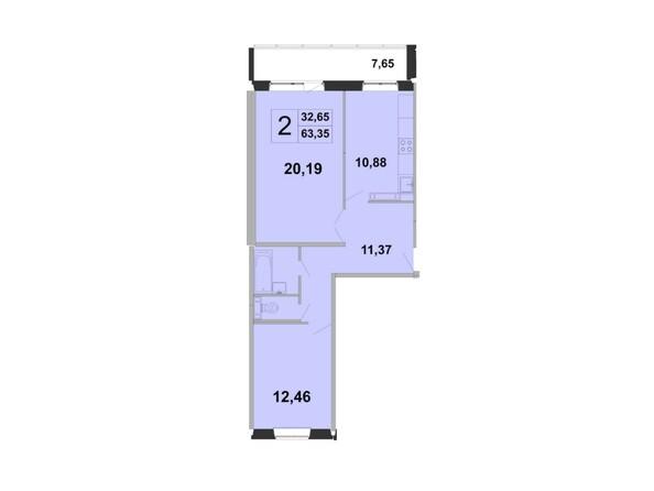 Планировки Жилой комплекс ЗЕЛЁНЫЕ ГОРКИ, КПД-5 - Планировка двухкомнатной квартиры 63,35 кв.м