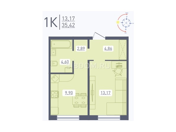 Планировка 1-комн 35,42 м²