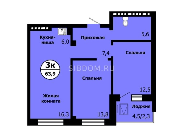 Планировка 3-комн 63,8 - 64 м²