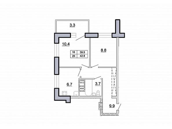 2-комнатная 42,8 кв.м