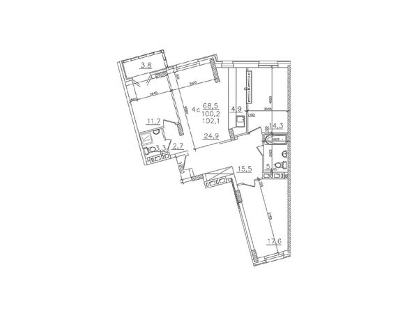 Планировки Жилой комплекс ЗОЛОТАЯ НИВА, дом 1 - Планировка четырехкомнатной квартиры 100,2 кв.м
