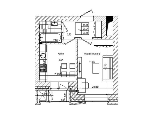 Планировка Студия 27 - 27,3 м²