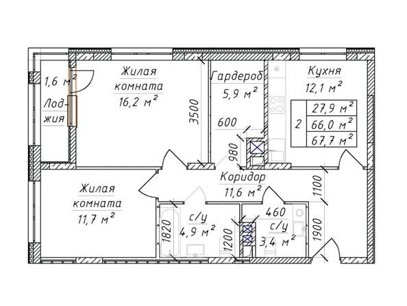 2-комнатная 67.7 - 70.1 кв.м