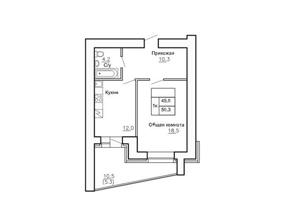 Планировки Жилой комплекс НОВАЯ ПРИСТАНЬ, 4 - Планировка однокомнатной квартиры 50,3 кв.м