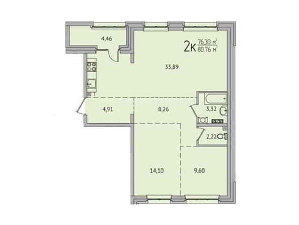 2-комнатная 80,78 кв.м