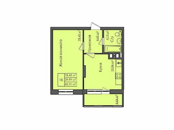 Планировки Жилой комплекс СИБИРЯЧКА - Планировка однокомнатной квартиры 42,31 кв.м