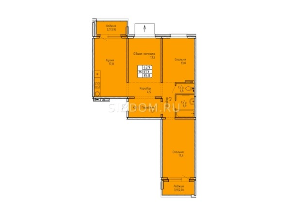 Планировка 3-комн 85,7, 85,8 м²