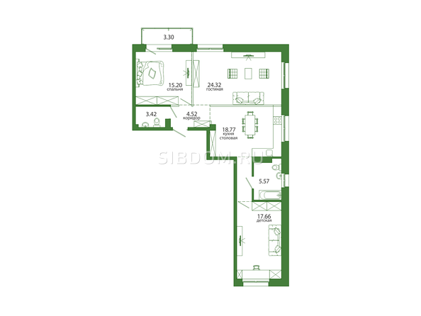 3-комнатная 96,44 кв.м