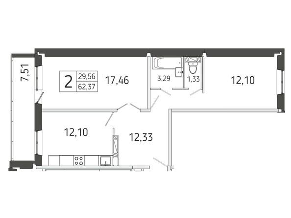 2-комнатная 62.37 кв.м