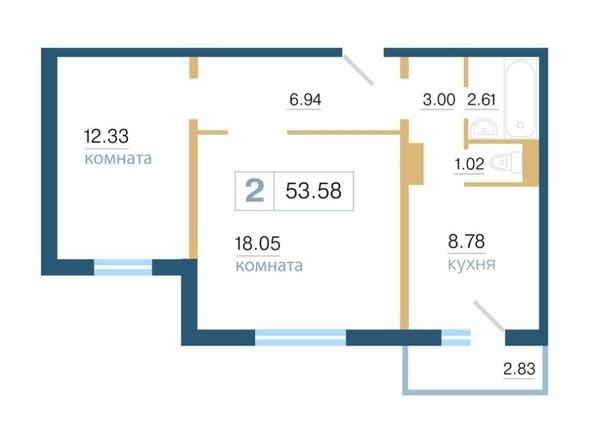 Планировка 2-комн 53,58, 53,6 м²