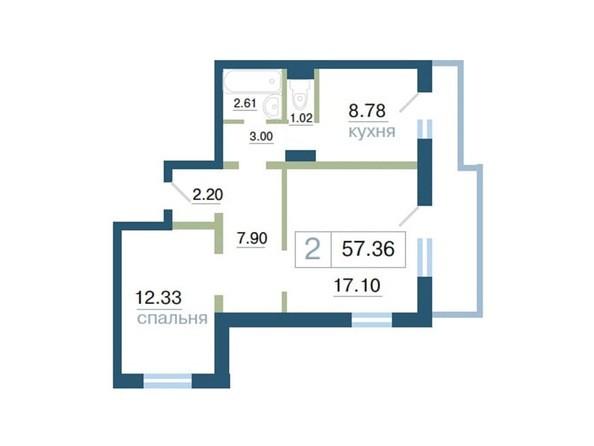 Планировка  57,36 м²