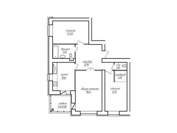 Планировки Жилой комплекс ПАРКОВЫЙ, Б/С 4,5 - 3-комнатная квартира 80,61 кв.м