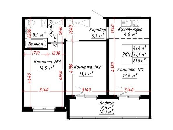 Планировка 3-комн 61,8 м²