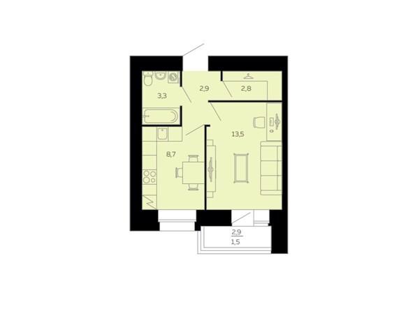 Планировки Жилой комплекс МАРС, дом 10 - Планировка однокомнатной квартиры 32,7 кв.м