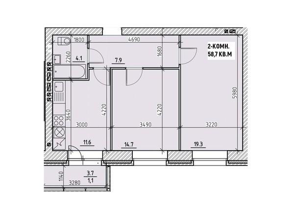 Планировки Жилой комплекс НА ВЫСОТЕ, 1 этап - Планировка двухкомнатной квартиры 58,7 кв.м