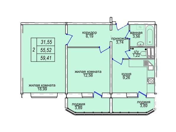 Планировки Жилой комплекс СОФИЙСКИЙ КВАРТАЛ, дом 3 (Троллейная,3) - 2-комнатная 59,41 кв.м