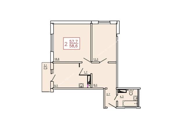 Планировки Жилой комплекс ТИХИЕ ЗОРИ, дом 6 - Планировка двухкомнатной квартиры 58,6 кв.м
