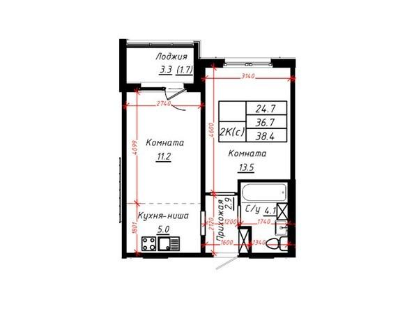 2-комнатная 38,4 кв.м