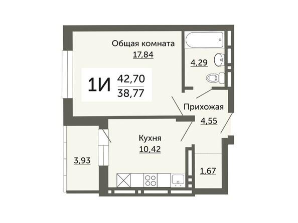 Планировки Жилой комплекс ДОМ НА НЕМИРОВИЧА, б/с 1 - Планировка однокомнатной квартиры 38,77 кв.м
