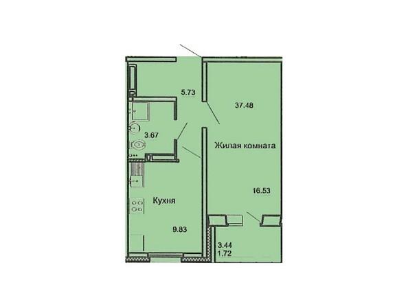 Планировка 1-комн 37,48 м²
