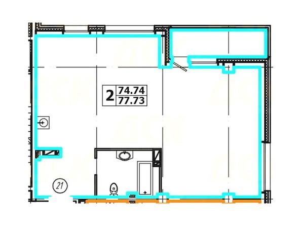 Планировка 2-комнатной квартиры 77,73 кв. м