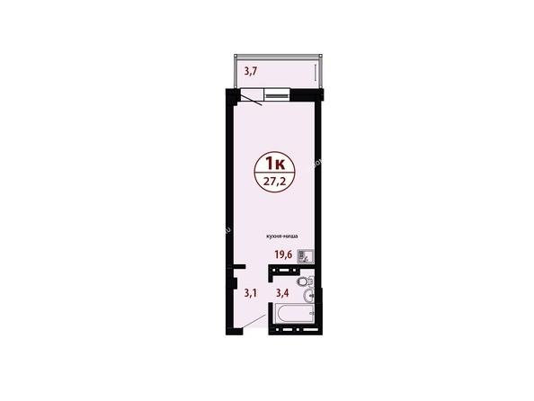 Секция №4. Планировка однокомнатной квартиры 27,2 кв.м