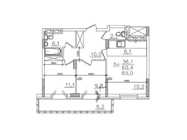 Планировки Жилой комплекс ЗОЛОТАЯ НИВА, дом 1 - Планировка трехкомнатной квартиры 60,4 кв.м