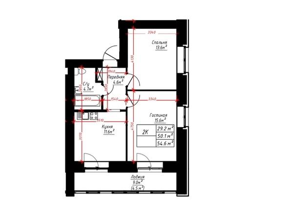 2-комнатная 54.6 кв.м