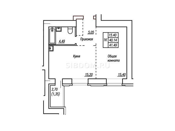 2-комнатная 41,49 кв.м