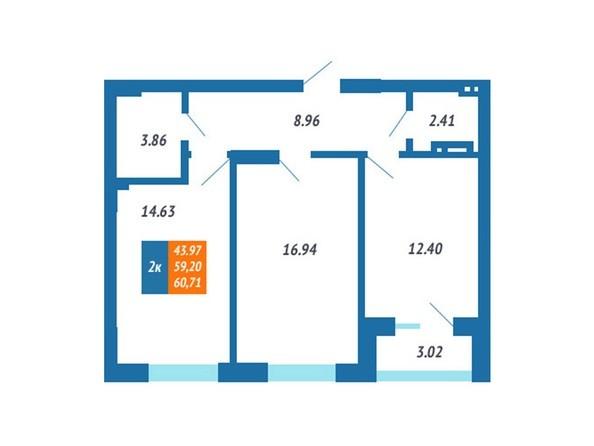 Планировка 2-комн 58,94 - 60,71 м²