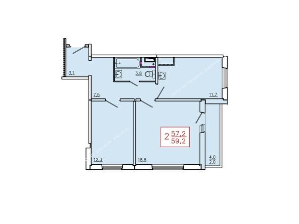 Планировки Жилой комплекс ТИХИЕ ЗОРИ, дом 6 - Планировка двухкомнатной квартиры 59,2 кв.м