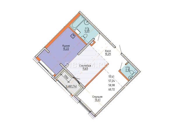 2-комнатная 62,47 кв.м