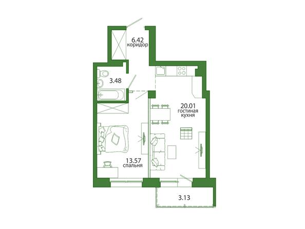 1-комнатная 46,61 кв.м