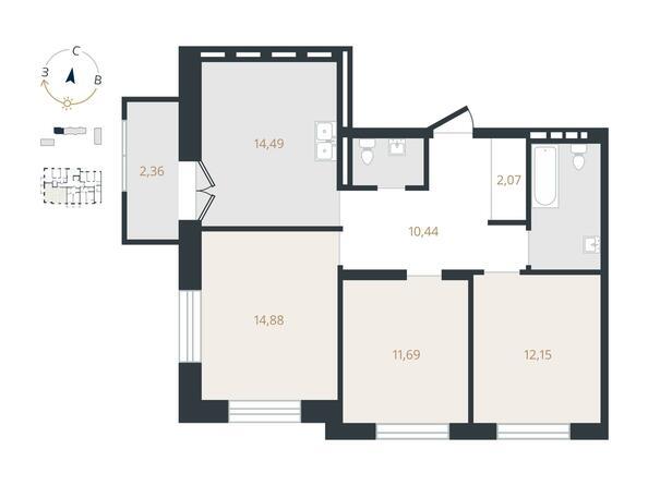 3-комнатная 73,61 кв.м